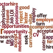 word cloud: job search, rejection, application, physician, medical doctor, employment, interview, application
