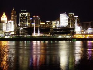 Night view of the Cincinnati Skyline