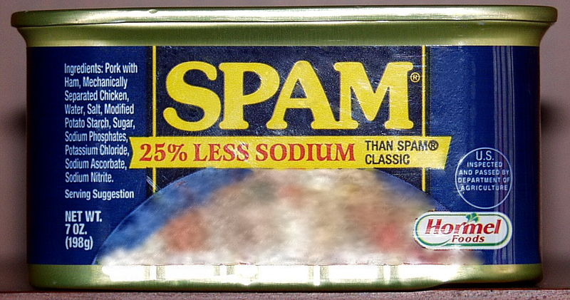 "A can of actual spam represents the ""job spam"" that this article discusses"