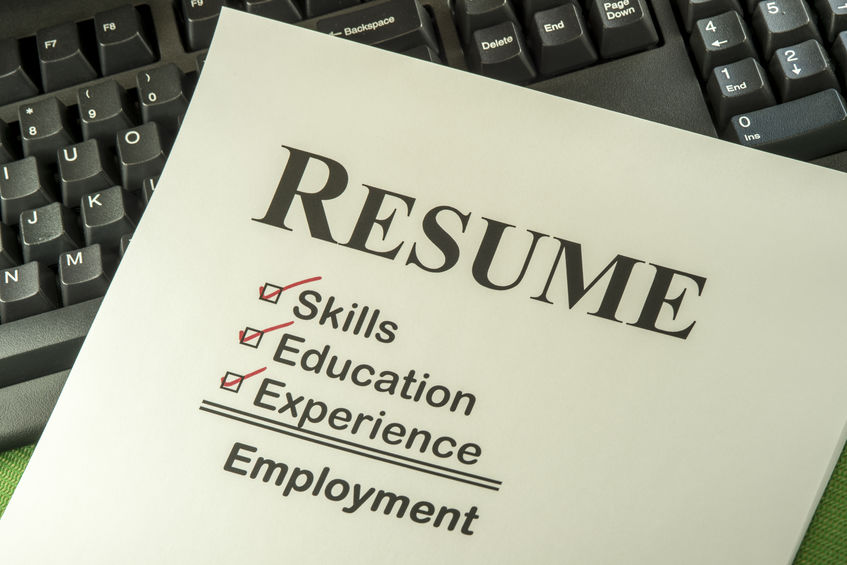 A nursing resume with boxes checked for skills, experience, and education.