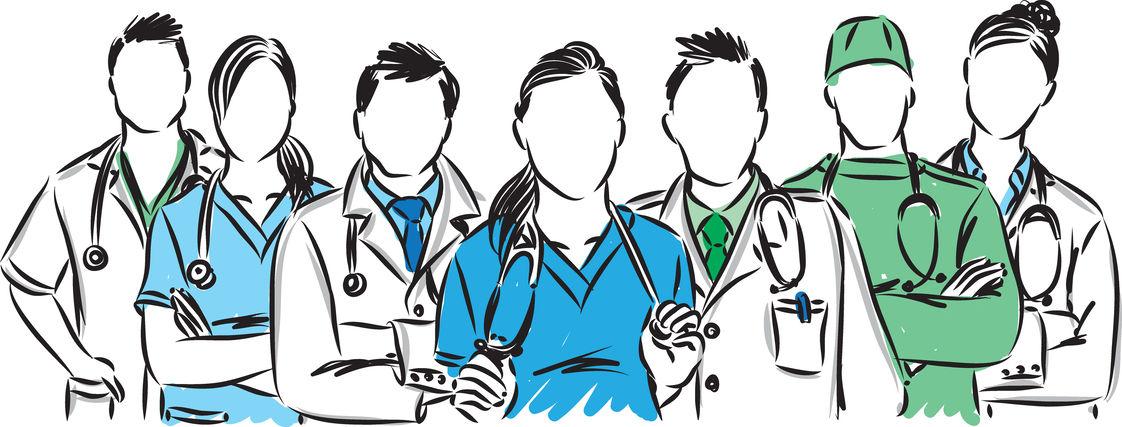 Artistic illustration of a healthcare team