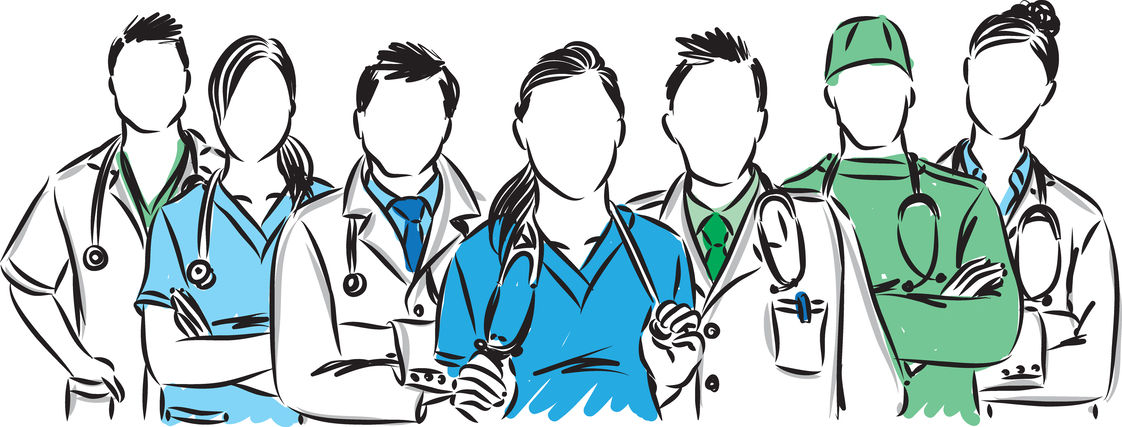 Illustration of a team of doctors from various medical specialties