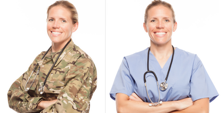 A woman as an army doctor next to herself as a civilian doctor