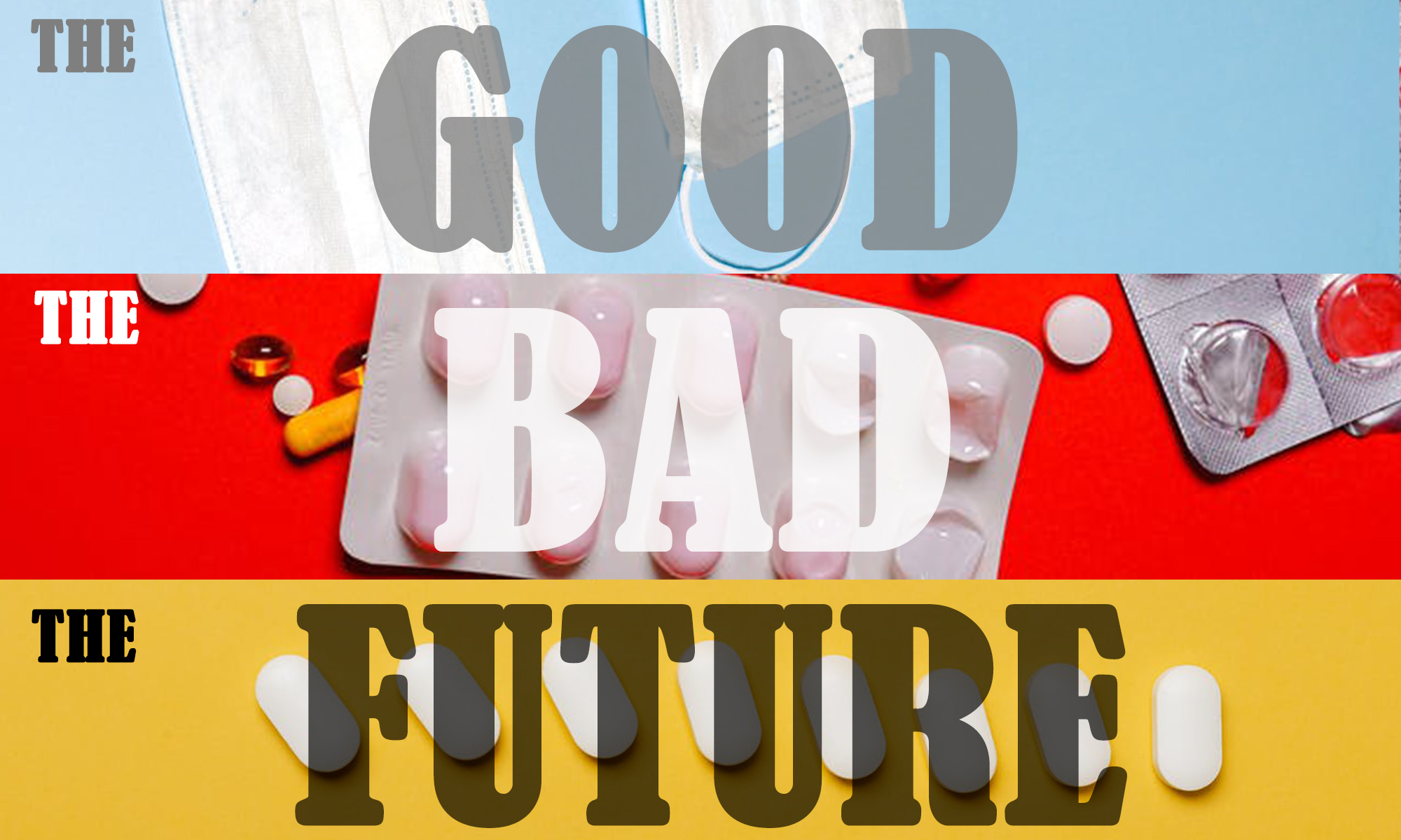 A graphic of three tiered images depicting the good, the bad and the future