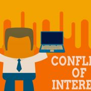 Text sign showing Conflict Of Interest. Conceptual photo disagreeing with someone about goals or targets Standing professional man tie holding left open laptop right mobile phone.