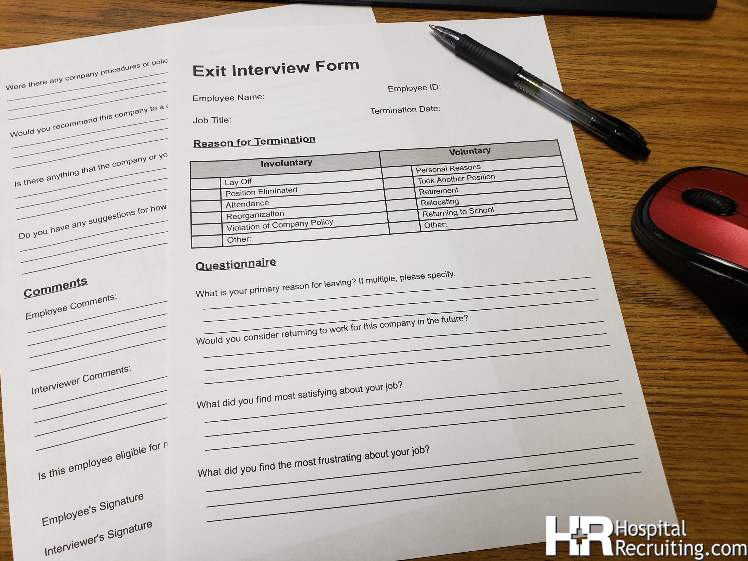 exit interview forms
