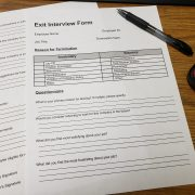 Exit interview forms on HR desk