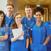 Young gen z medical students in school
